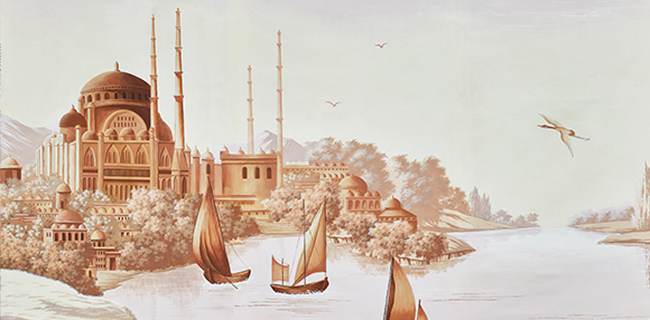 Ancient asiatic views of ships, buildings and trees handpainted on wallcoverings