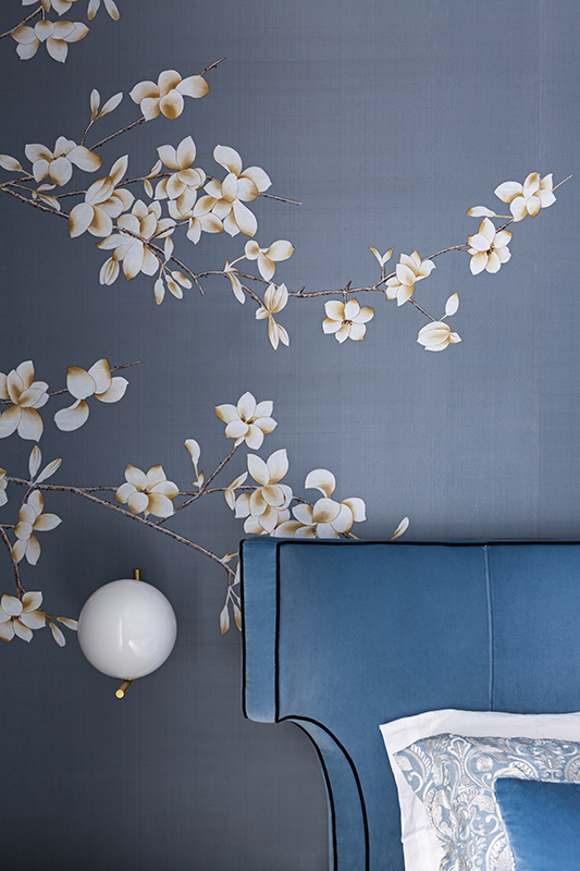 white magnolia details hand painted wallcoverings for bedroom