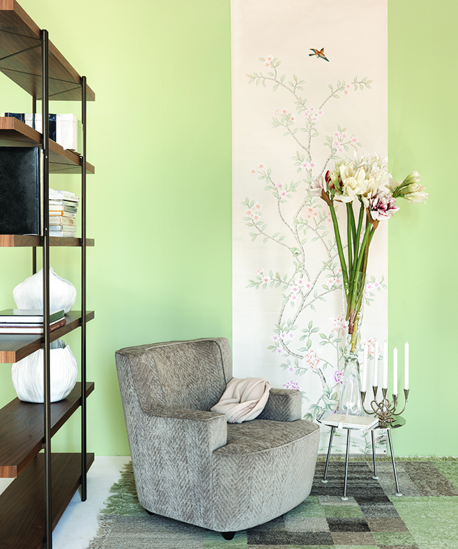 Chinese garden with larks single panel wallcoverings for Driade catalogue