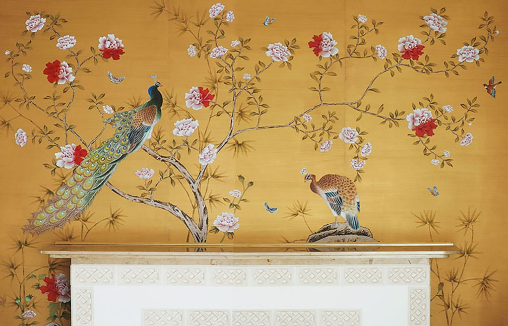 hand painted chinoi serie peacock wallcoverings for kempiski hotel on gold colour theme