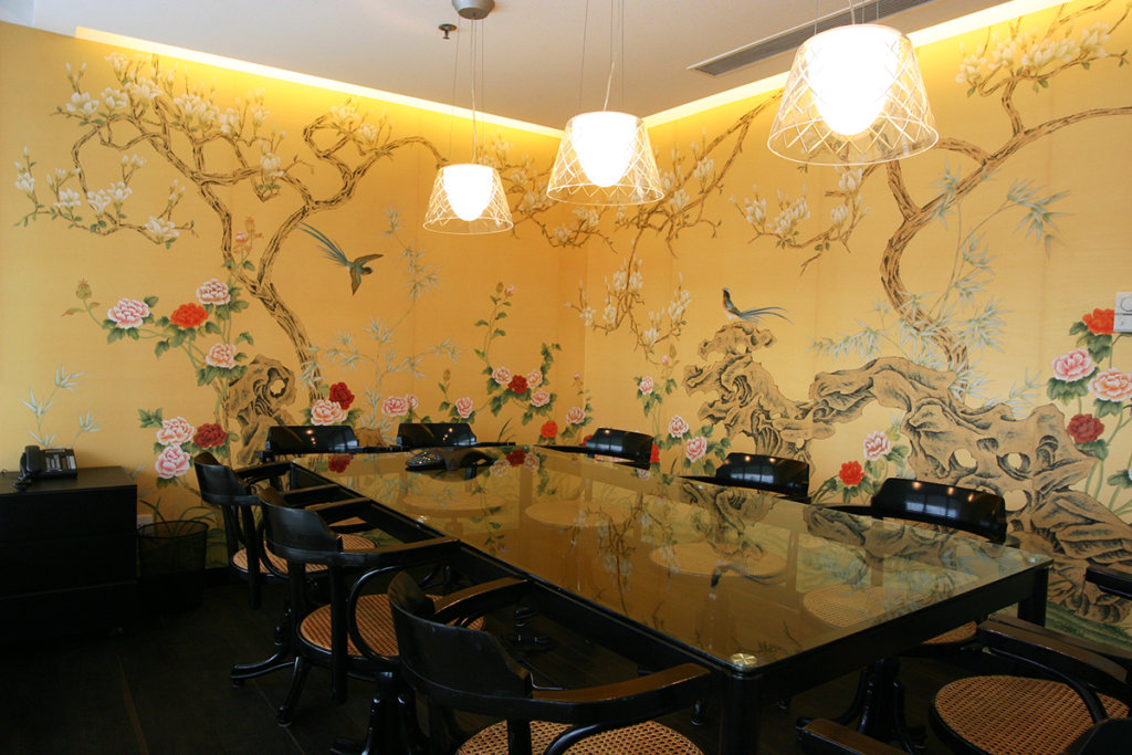 Chinoi serie garden and flower silk wallcoverings for meeting room and office