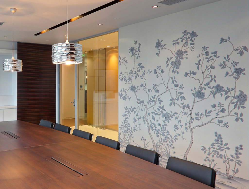 chinoi serie wallcovering suitable for office and meeting room with white back ground and custom design