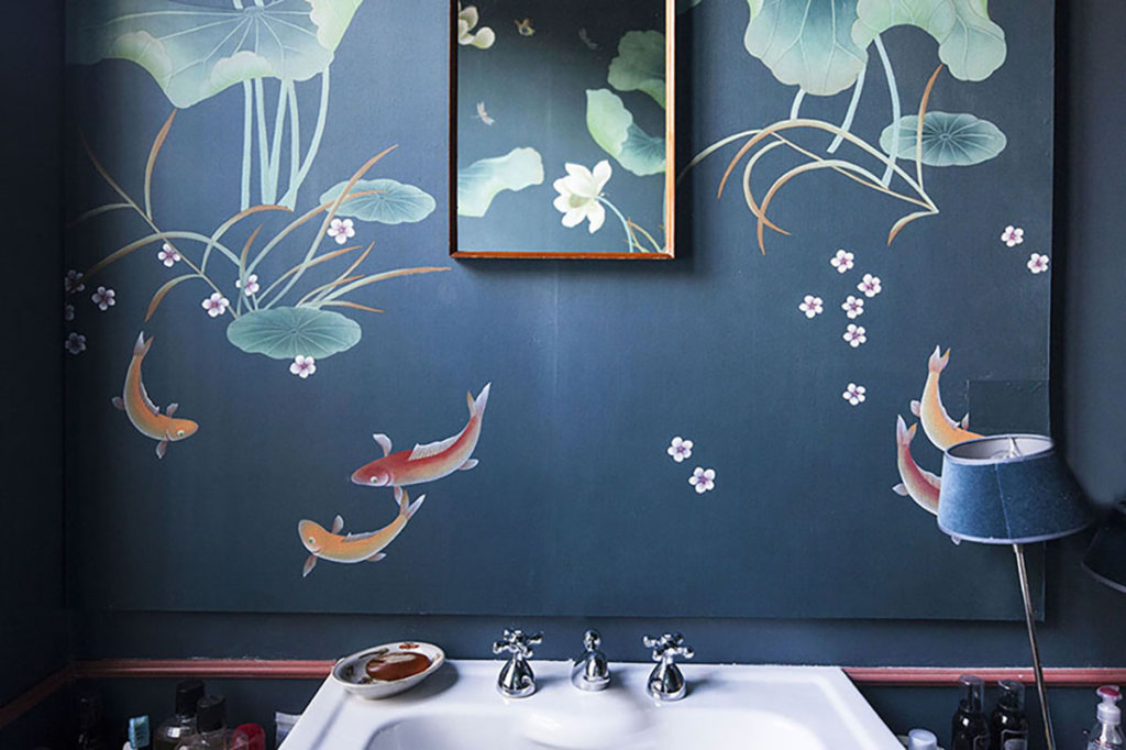 water resistant wallcoverings with fish handpainted for bathroom