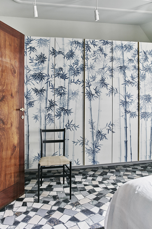 wallcoverings for wardrobe with japanese style bamboo forrest on silk