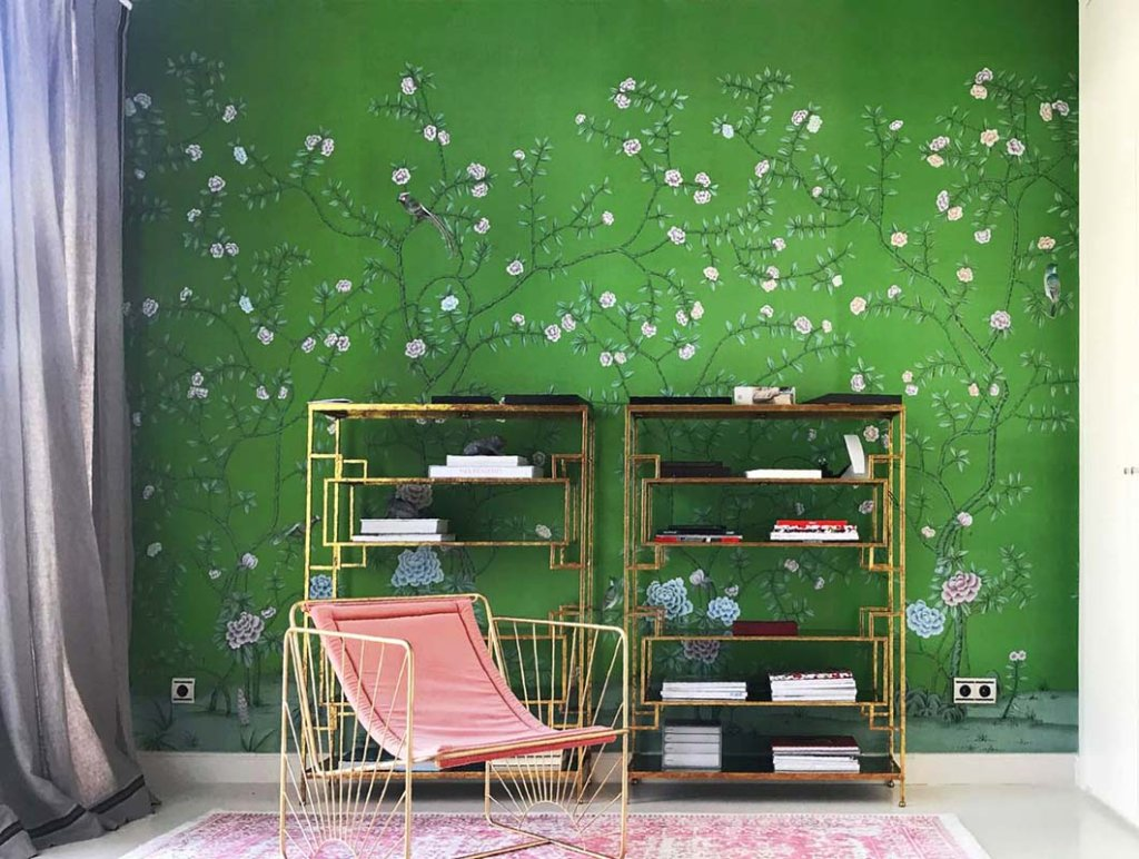 oriental wallcovering on green silk wallcoverings with pink details on living room
