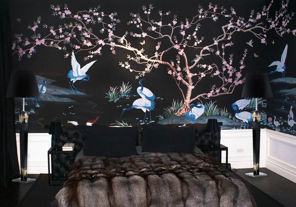custom design wallpaper on pure silk for bedroom with oriental style black colour