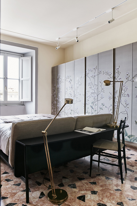 hand painted silk wallcoverings for bedroom with oriental flower design for closet and wardrobe