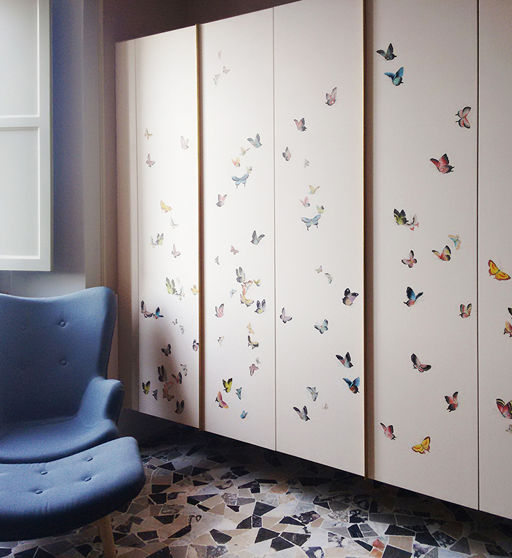 custom design Butterflies silk wallcoverings for closet and wardrobe cover