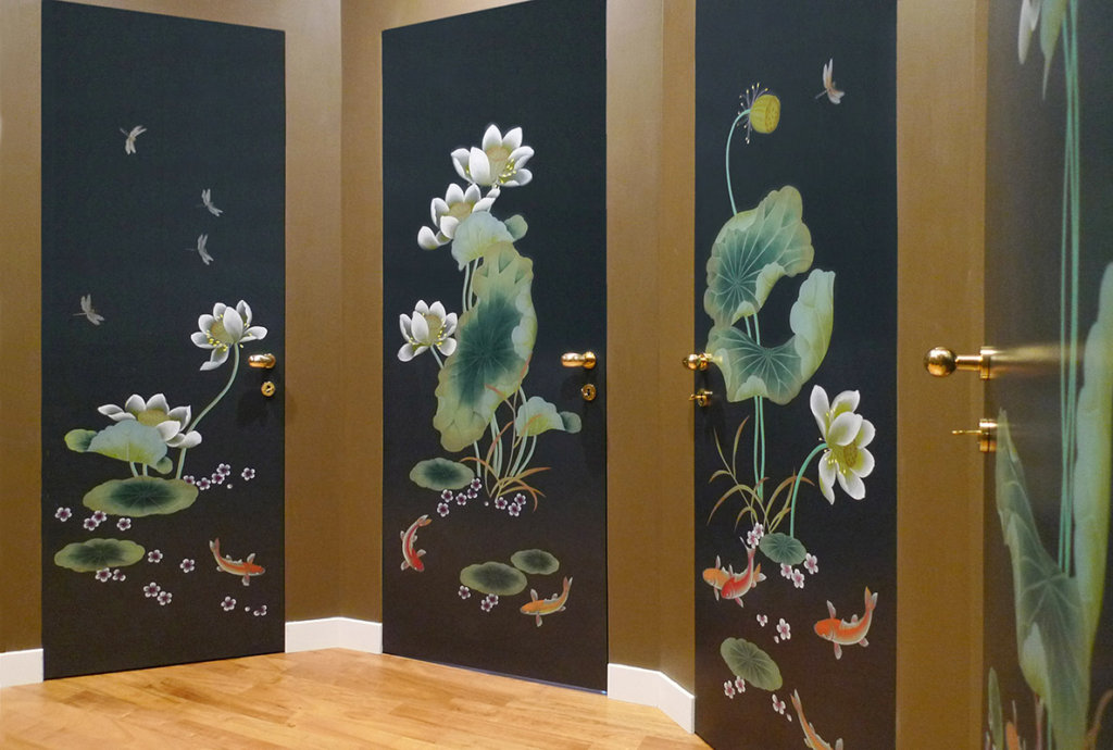 metallic wallcoverings with fish pattern hand painted on door