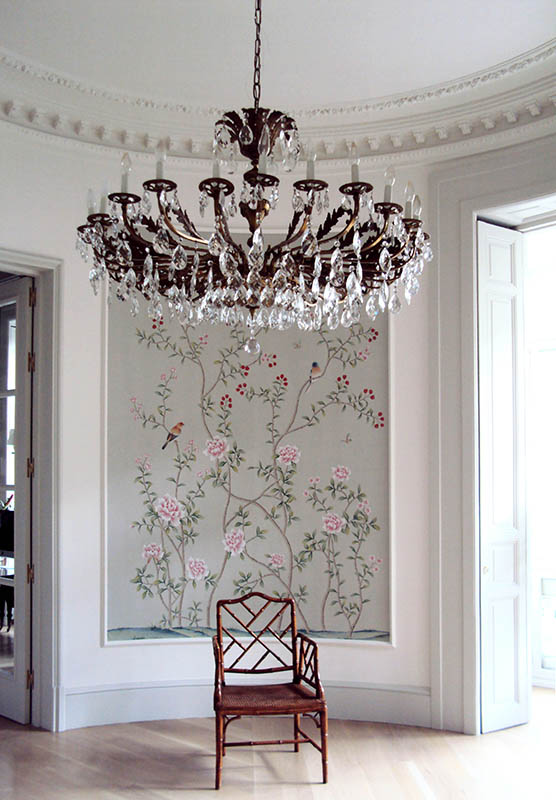 beautiful wallpaper for entrance with oriental style on white silk background
