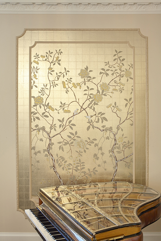 Custom hand painted wallpaper on metallic with oriental design for living room