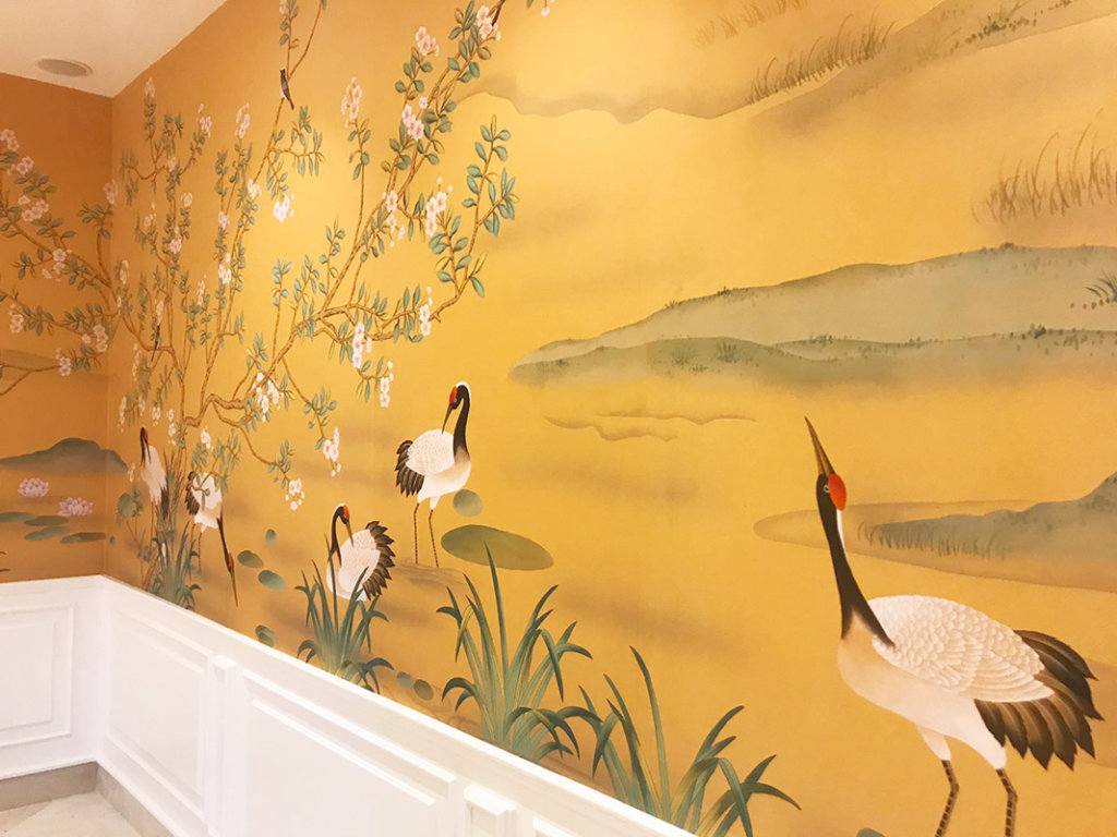 Cranes detail wallcoverings on silk with Apricot color theme for living room