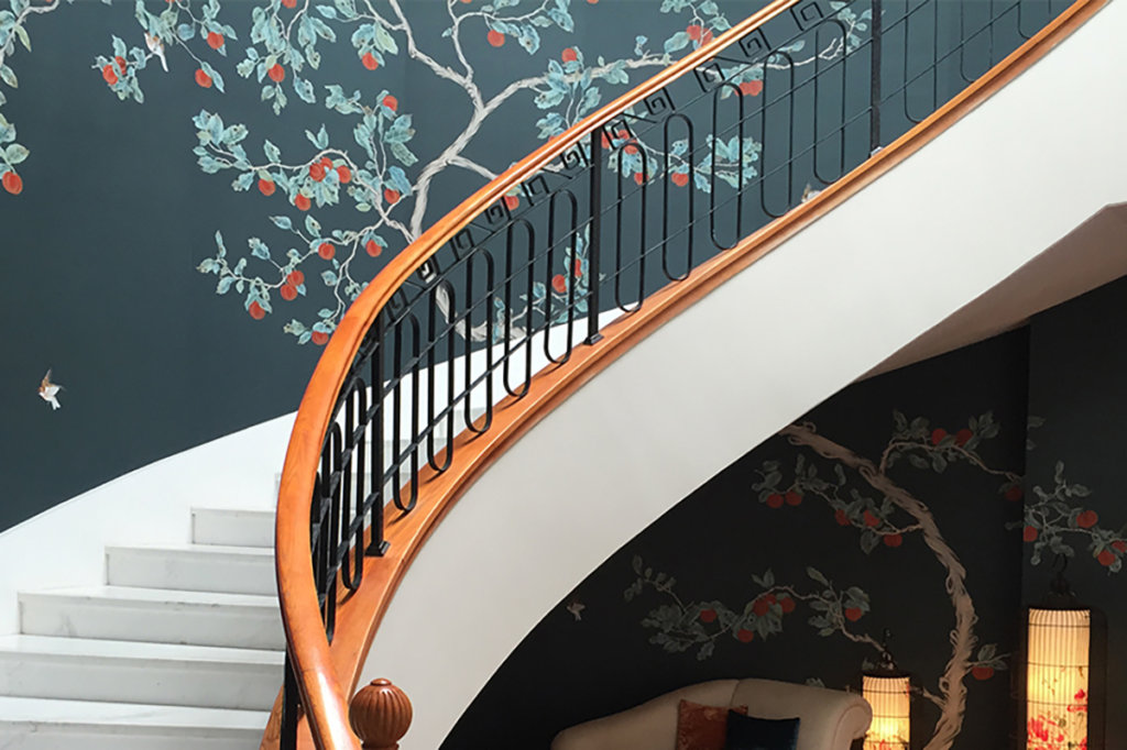 japanese style wallcoverings with red kaki tree for living room and stairs