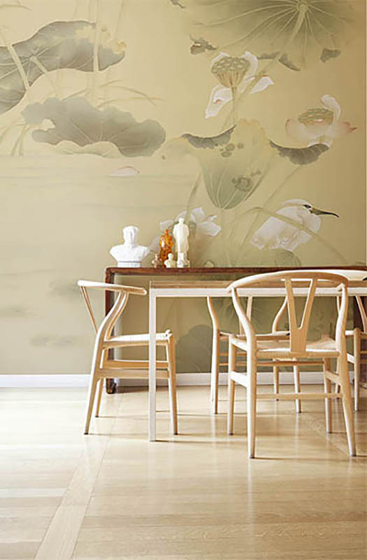 lotus blossom and white heron bird wallcoverings on silk wallpaper oriental subject