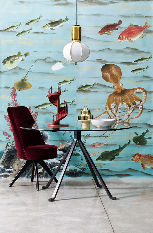 beautiful sea creatures like octopus and fish silk wallcoverings with blue background wallpaper