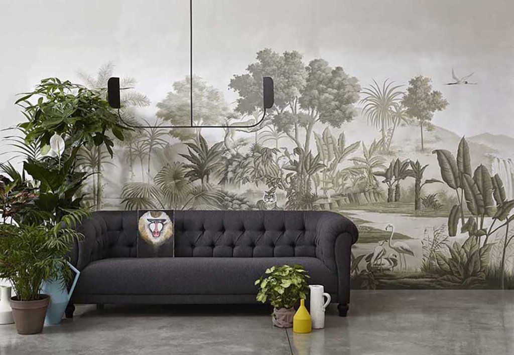 photo from davide lovatti The spice route wallcoverings with gray colour suitable for living room