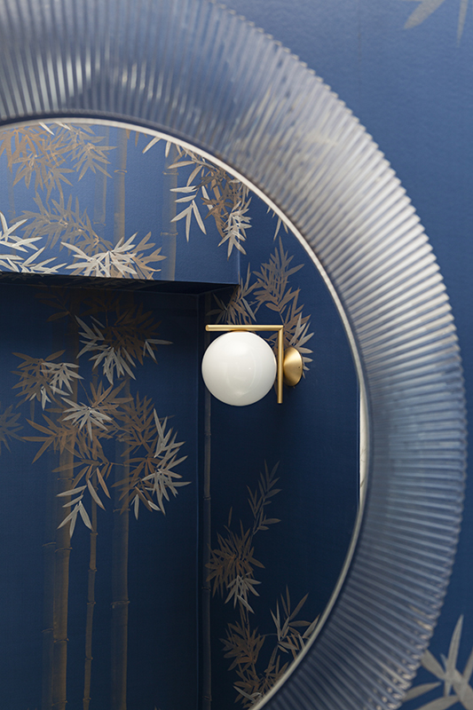 bamboo forrest silk wallcoverings on blue background for powder room