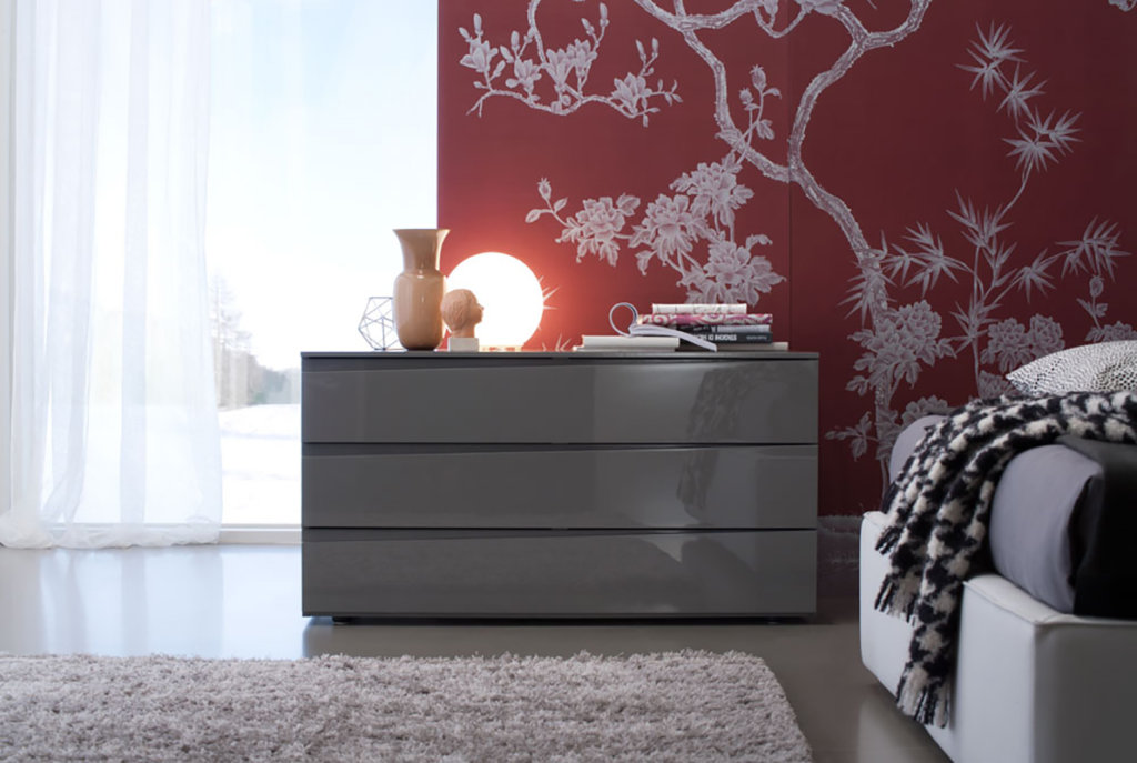 beautiful details of winter magnolia tree on pure silk wallcoverings for bedroom