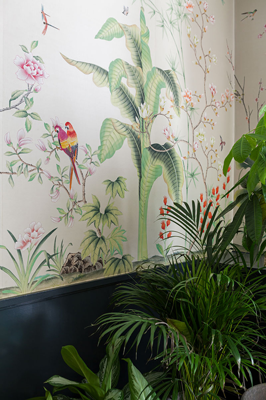 bird and tropical plants theme wallcoverings details on silk with white background