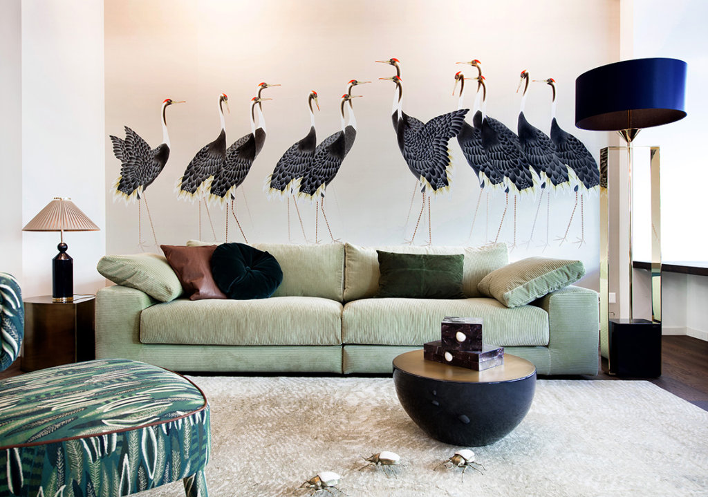 Japanse style wallcoverings for living room with big bird design