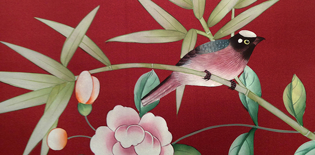 Handpainted bird on wallcovering