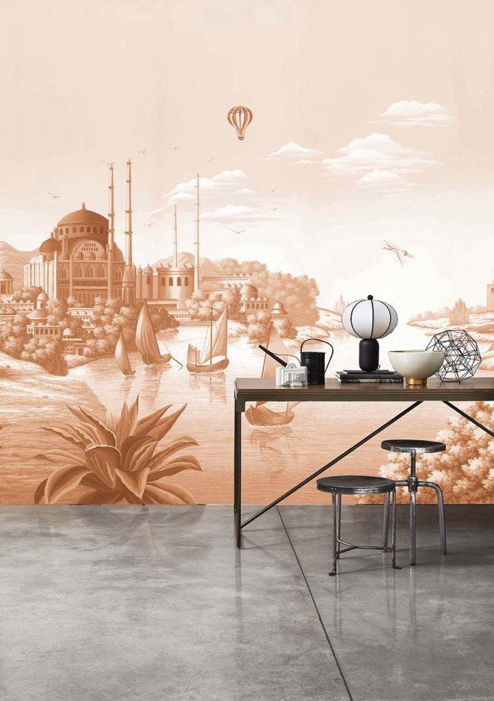 Printed wallpaper Sepia e colour