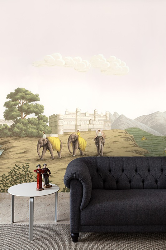 Beautiful silk wallcoverings for living room with elephants part of grand tour series the Tea Route for Driade