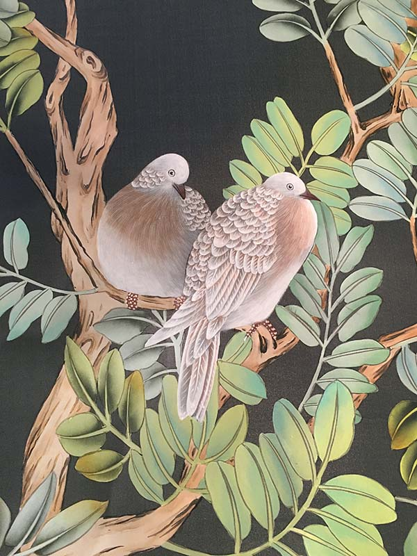 bird details silk wallpaper suitable for dining room