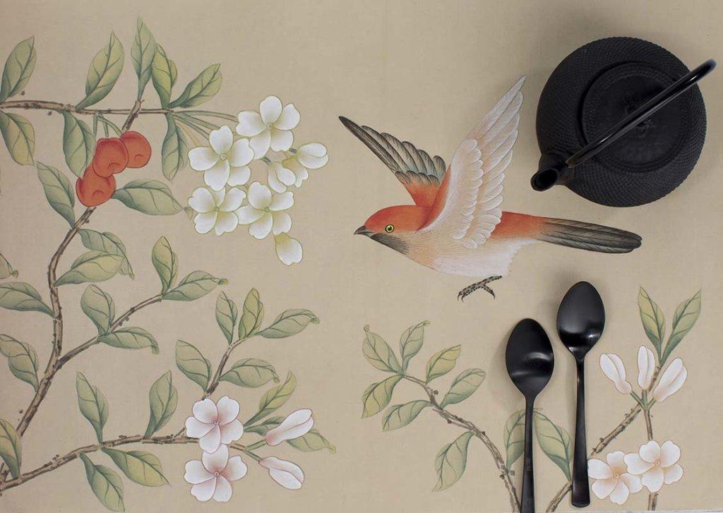 beautiful cherry garden silk wallpaper for bedroom and living room