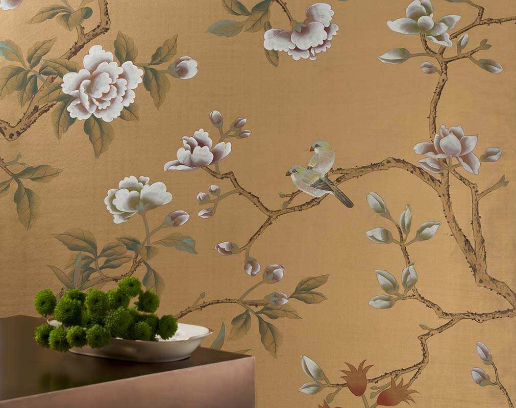 silk wallpaper with imperial garden design with gold powder silk background