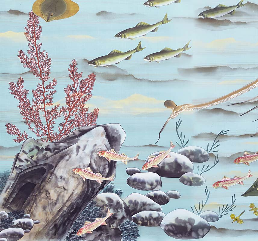 hand painted coral and sea creatures silk wallcoverings for bathroom