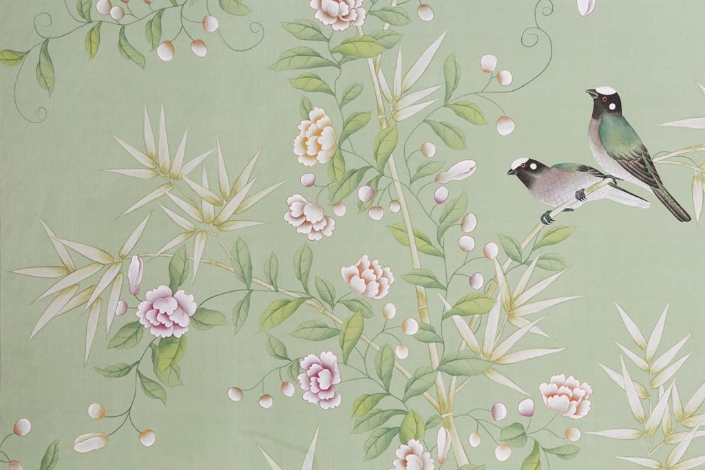 beautiful details spring bamboo garden silk wallcoverings on terra verde background