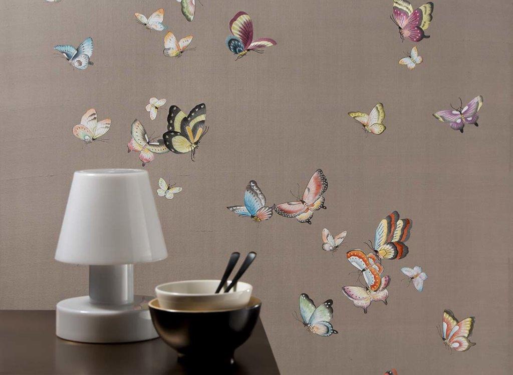 beautiful hand painted butterflies details wallpaper on silk