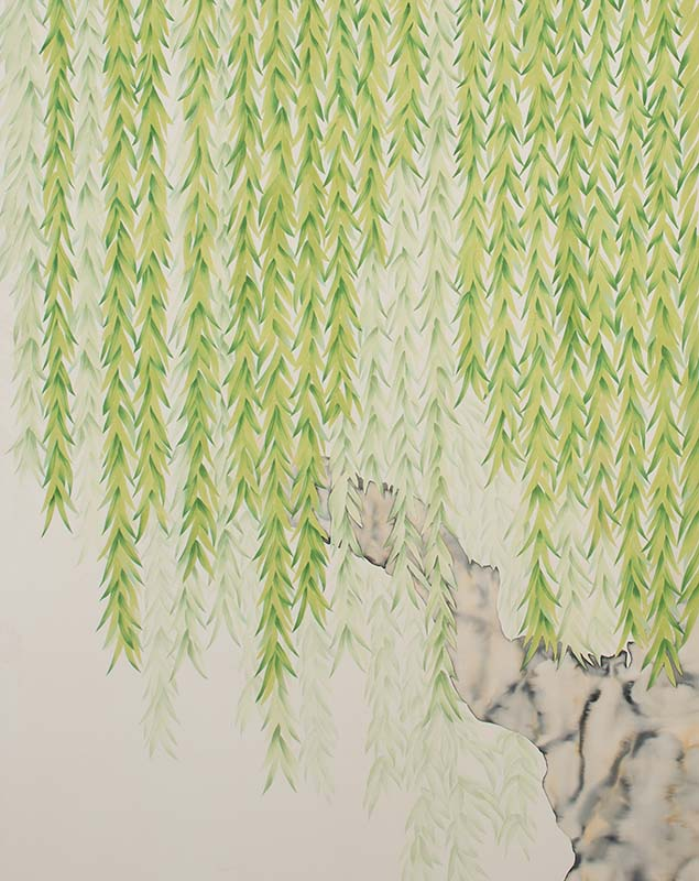 willow tree background hand painted silk wallpaper for bedroom