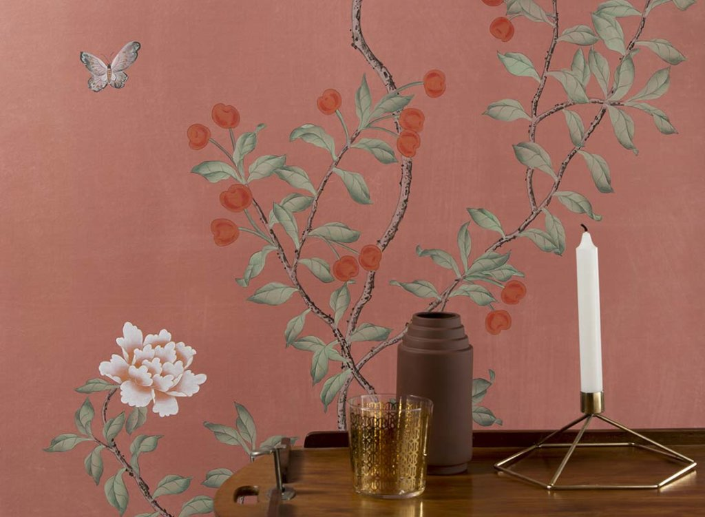 cherries tree and peonies tree wallpaper on silk ocra rossa background