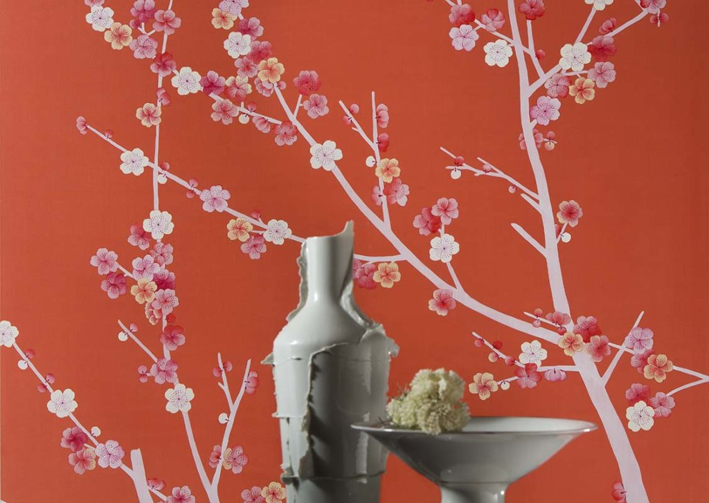 Beautiful details of cherry tree silk wallcoverings for livingroom
