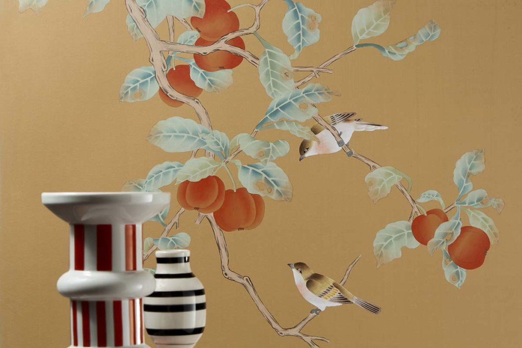 asian design silk wallpaper with red kaki design pattern for livingroom