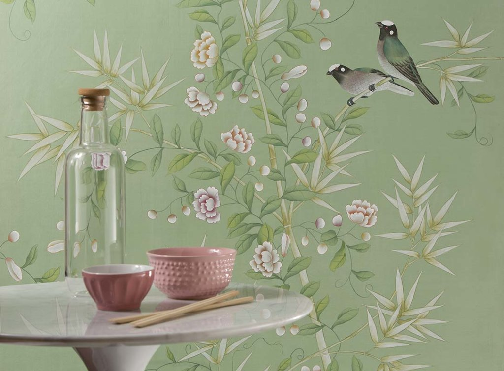 spring bamboo garden silk wallpaper with traditional chinese design
