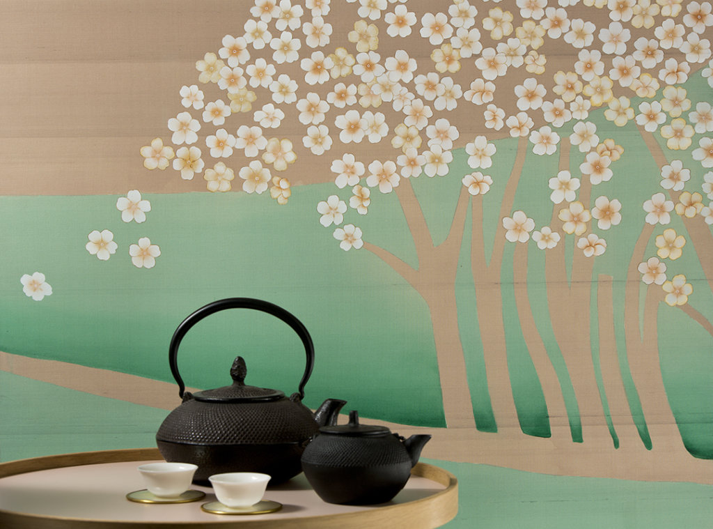 tree and flower landscape silk wallpaper with japanese style