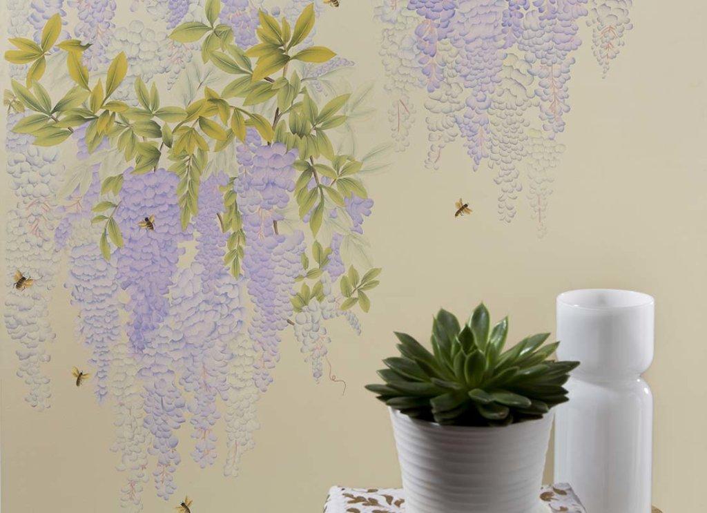 Beautiful wisteria design silk wallpaper for livingroom