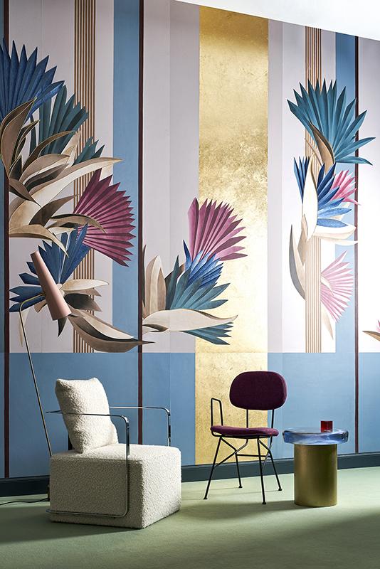 Vegetation wallpaper for bedroom design by Cristina Celestino on silk wallcoverings