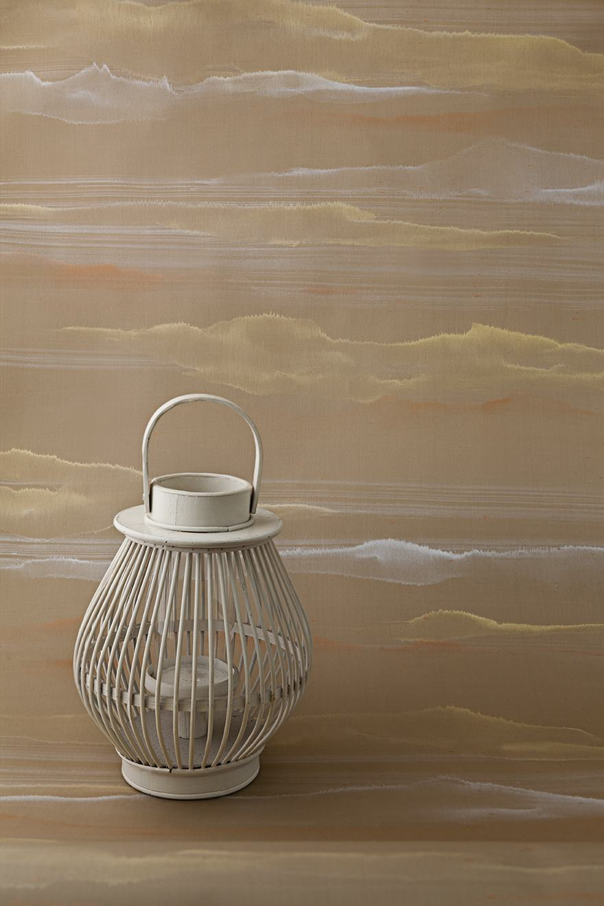 Japanse style stripes wallcoverings for living room with gold and silver powder