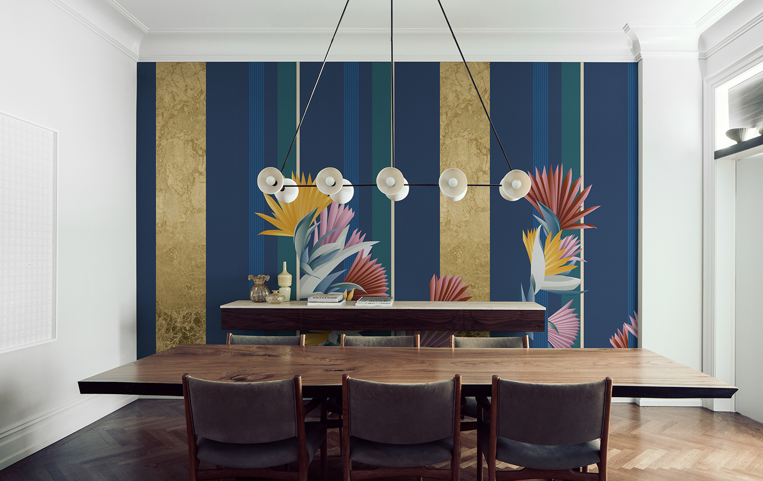 Cabana wallcoverings for dining room in golden sky colour way and metallic