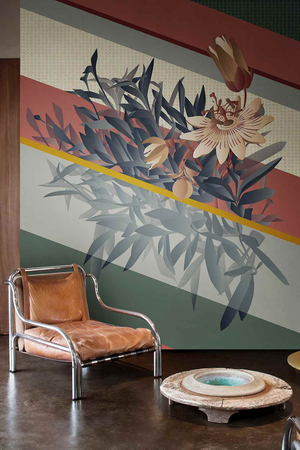 Passiflora wallcoverings for living room in Citrina colour way