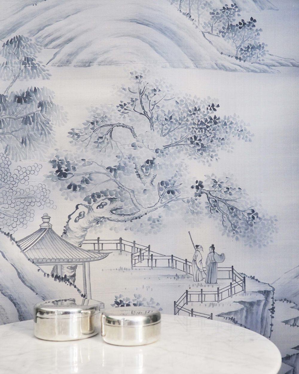 China landscape silk wallpaper for hotel