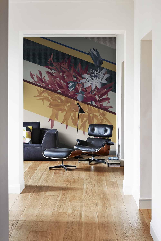 Floral wallpaper for livingroom design by Cristina Celestino on silk wallcoverings