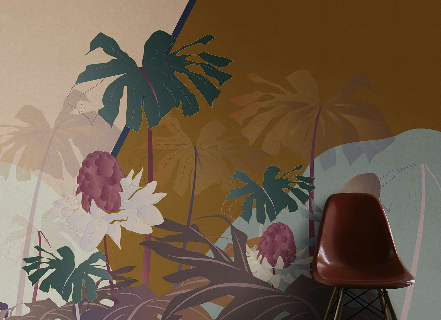 Oasi wallpaper for entrance design by Cristina Celestino on silk wallcoverings
