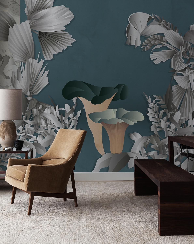 Mushroom wallpaper for livingroom design by Cristina Celestino on silk wallcoverings