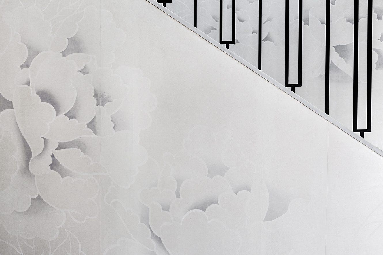 Beautiful white big peonies wallpaper on pure silk