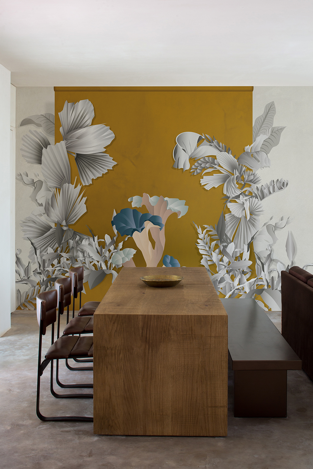 Formosa wallcoverings for dining room in saffron colour way